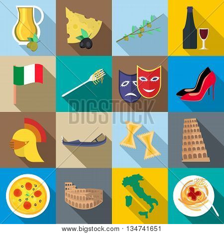 Italia icons set in flat style for any design