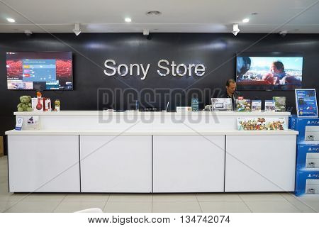 KUALA LUMPUR, MALAYSIA - MAY 09, 2016: Sony Store in Suria KLCC. Suria KLCC is located in the Kuala Lumpur City Centre district. It is in the vicinity of the landmark the Petronas Towers.