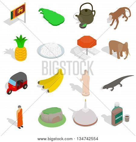 Sri-lanka icons set in isometric 3d style isolated on white background
