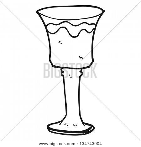 freehand drawn black and white cartoon goblet of wine