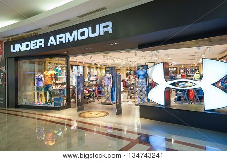 KUALA LUMPUR, MALAYSIA - MAY 09, 2016: Under Armour store in Suria KLCC. Suria KLCC is located in the Kuala Lumpur City Centre district. It is in the vicinity of the landmark the Petronas Towers.