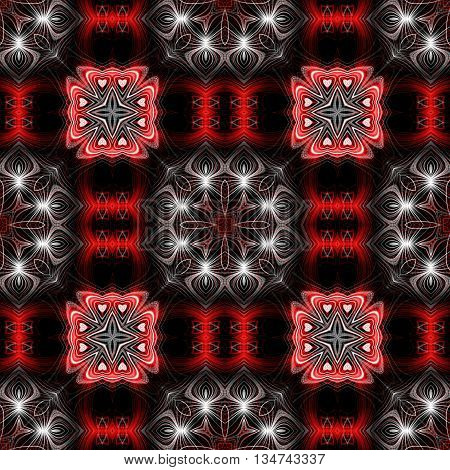 Abstract decorative red and white texture - kaleidoscope pattern