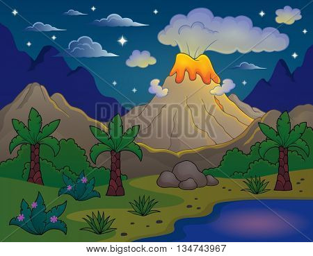 Prehistoric night landscape 2 - eps10 vector illustration.