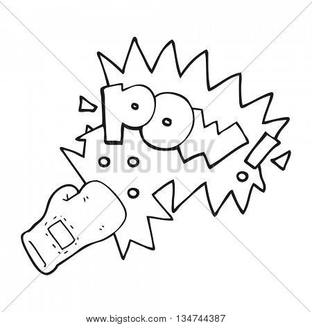 freehand drawn black and white cartoon boxing glove punch