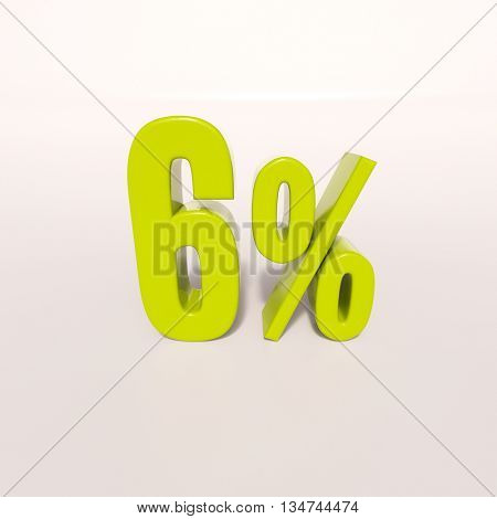 3d render: green 6 percent, percentage discount sign on white, 6%
