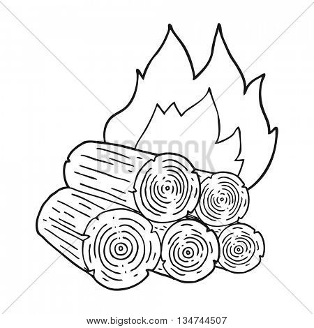 freehand drawn black and white cartoon burning logs