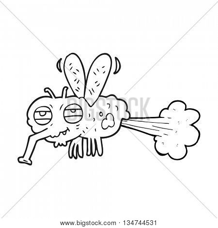 freehand drawn black and white cartoon gross farting fly