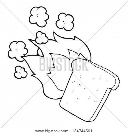 freehand drawn black and white cartoon burnt toast
