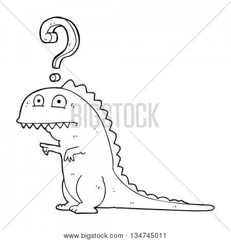 freehand drawn black and white cartoon confused dinosaur