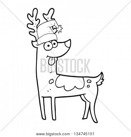 freehand drawn black and white cartoon crazy reindeer