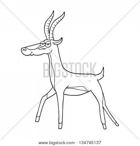 freehand drawn black and white cartoon gazelle