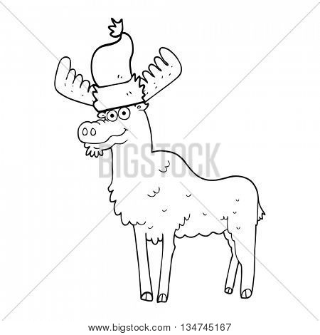freehand drawn black and white cartoon christmas moose