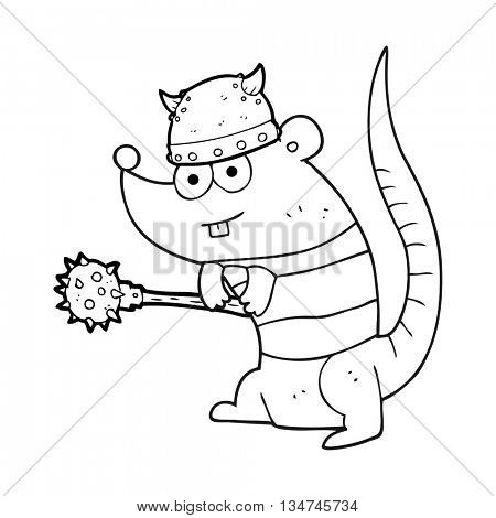 freehand drawn black and white cartoon rat warrior