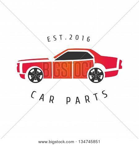 Car service auto parts vector logo. Car airbrushing concept