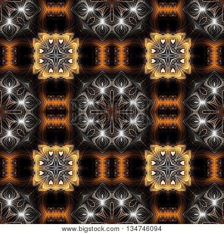 Abstract decorative brown and white texture - kaleidoscope pattern