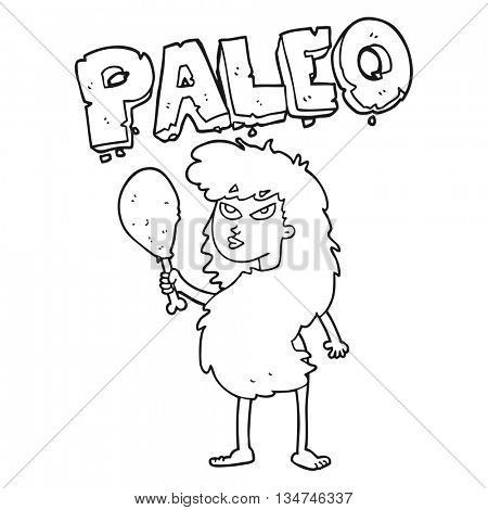 freehand drawn black and white cartoon woman on paleo diet