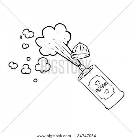 freehand drawn black and white cartoon squirting whipped cream