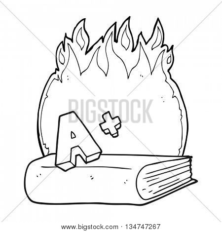 freehand drawn black and white cartoon A grade symbol and book