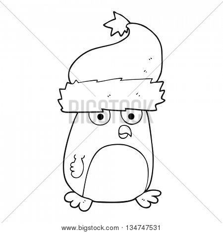 freehand drawn black and white cartoon christmas robin wearing christmas hat