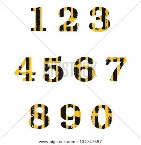 Vector set of distressed numbers in grunge style.