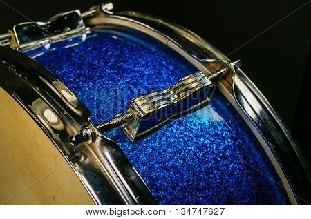 Vintage Blue Sparkle And Chrome Snare Drum