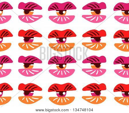Surrealistic lips and eyes. Seamless pattern. Vector illustration eps 10.