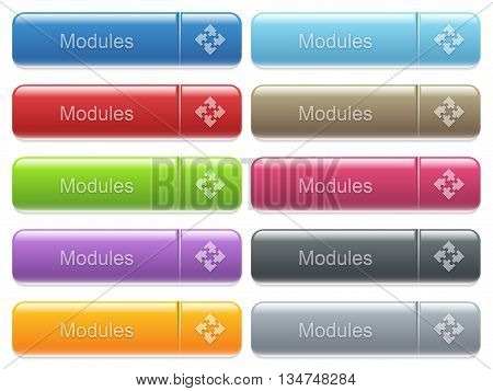 Set of modules glossy color captioned menu buttons with embossed icons