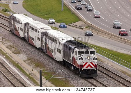 DALLAS USA - APR 8: Trinity Railway Express train (TRE) in the city of Dallas. April 8 2016 in Dallas Texas USA