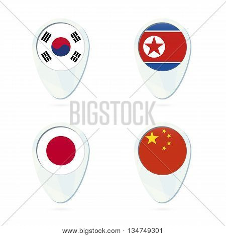 South Korea, North Korea, Japan, China Flag Location Map Pin Icon.