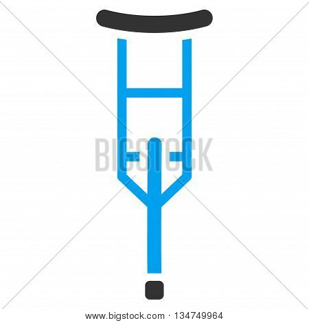 Crutch vector icon. Style is bicolor flat icon symbol with rounded angles, blue and gray colors, white background.
