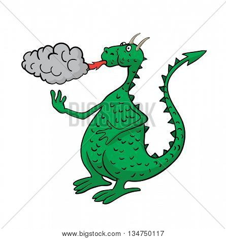 Cartoon dragon, spewing fire and smoke.