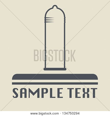 Abstract Condom icon or sign, vector illustration