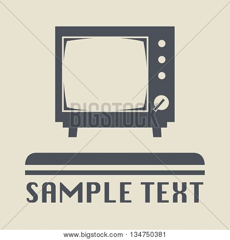 Retro TV icon or sign, vector illustration