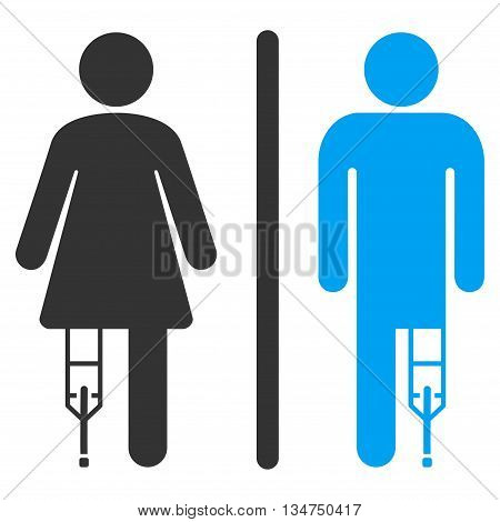 Patient WC Persons vector icon. Style is bicolor flat icon symbol with rounded angles, blue and gray colors, white background.