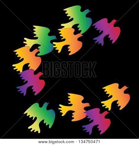 Flock of colorful birds on black background