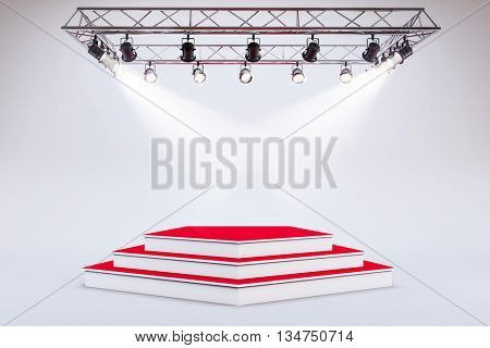 3d template of blank empty podium stage
