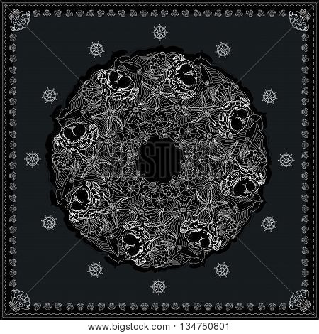 Black and white bandana square pattern design for print on fabric. Kerchief or neck scarf style. Mandala vector illustration with crabs, squids, starfishes, shells, helms and waves.