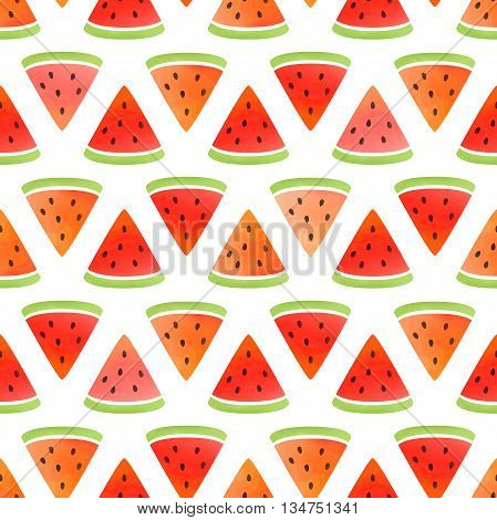 Watermelon wallpaper. Vector seamless pattern. Watercolor background