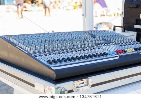 Sound equipment for Summer beach party, mixer and multipliers
