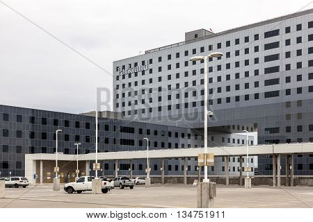 DALLAS USA - APR 9: Exterior view of the Parkland Memorial Hospital in Dallas. April 9 2016 in Dallas Texas United States