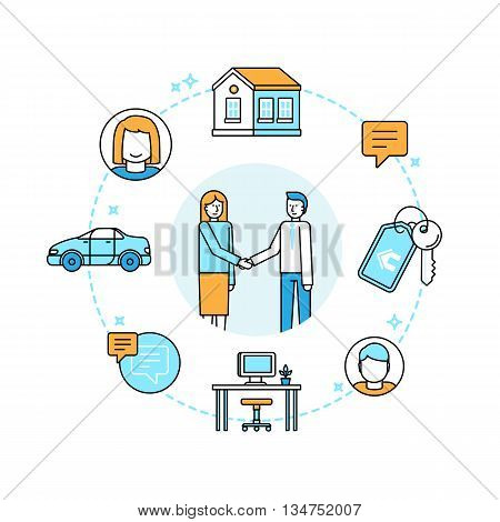 Vector Illustration In Trendy Flat Linear Style - Sharing Economy And Collaborative Consumption