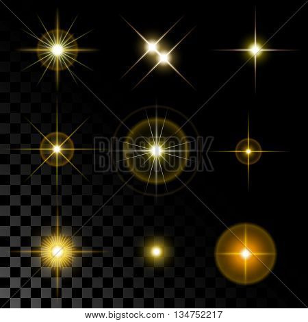 Set of the realistic beautiful gold star fires and flashes on a transparent background a vector illustration.