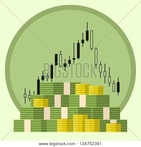 Pack of paper and coin money dollars on forex stock chart background. Concept of money growth. Stock trading. Vector illustration.