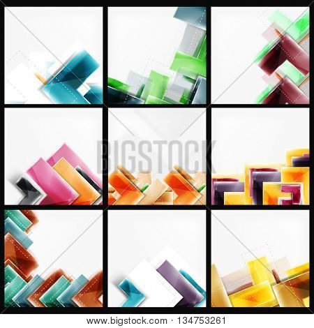 Collection of arrow abstract backgrounds. Set of vector web brochures, internet flyers, wallpaper or cover poster designs. Geometric style, colorful realistic glossy arrow shapes, blank templates with