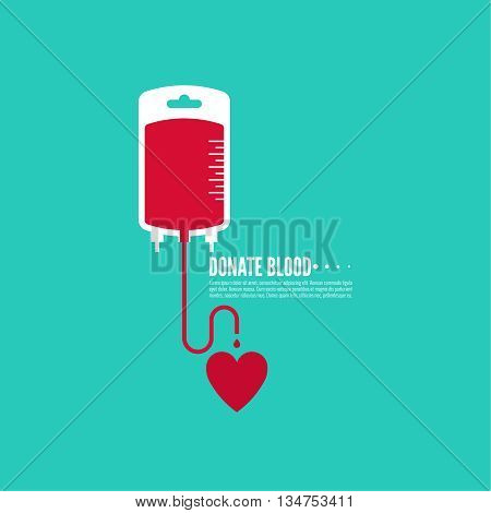 Abstract background with blood bag. Icon donation. Vector image help the sick and needy. dropper with drop with  heart