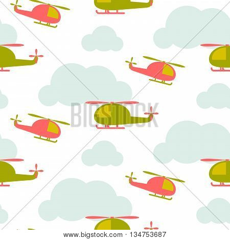 Cartoon helicopter in sky seamless vector pattern. Green and red copter in the blue clouds on white background. Minimalist style textile fabric boy child ornament.