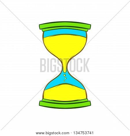Hourglass icon in cartoon style on a white background