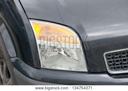modern automobile headlight close up. Car element.
