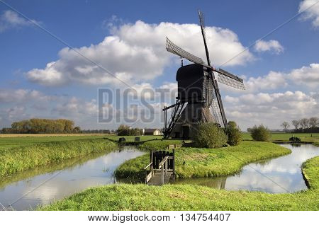 Noordeveldse windmill near Dussen in the Dutch province Noord-Brabant