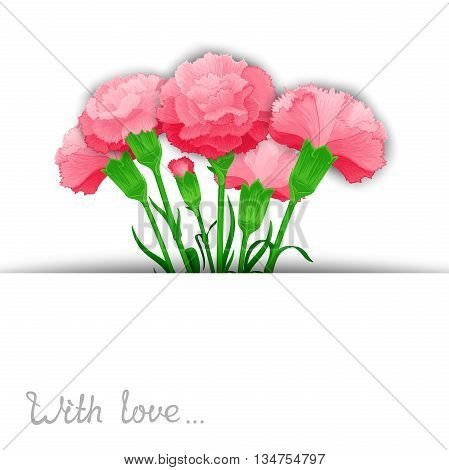 Vector template of bouquet flowers Carnations in stylized cuts paper. Ready design for poster web print greeting card and advertisement.